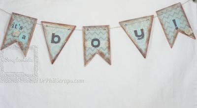 Scrapbookista Frosted Gender Reveal Banner Boy 001